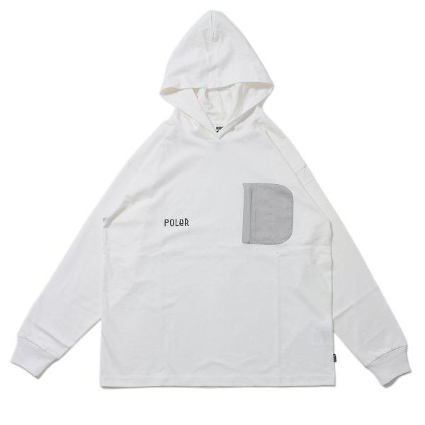 FURRY FONT HEAVY WEIGHT POCKET L/S TEE HOODIE - WHITE