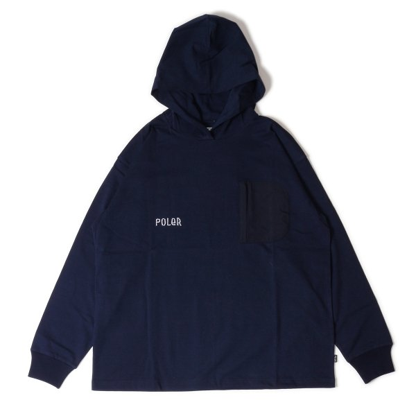 FURRY FONT HEAVY WEIGHT POCKET L/S TEE HOODIE - NAVY