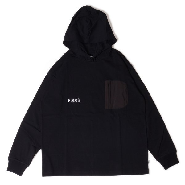 FURRY FONT HEAVY WEIGHT POCKET L/S TEE HOODIE - BLACK