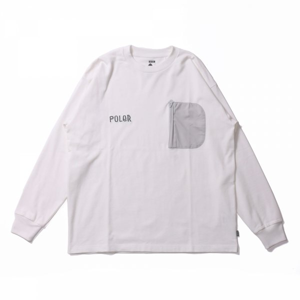 FURRY FONT HEAVY WEIGHT POCKET L/S TEE - WHITE