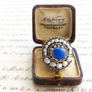 ブルービーズ刺繍リング(指輪) 大ぶり ブルーアゲート 天然石ビーズリング マリンブルー