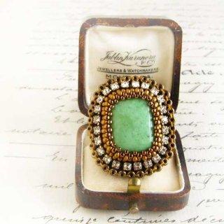 グリーン ビーズ刺繍 指輪  バリサイト 天然石  ビーズリング(指輪)  大ぶり スクエア ボリュームリング