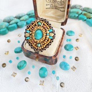 ターコイズブルー  ビーズリング、 オーバル 天然石 ビーズ 刺繍 リング(指輪)