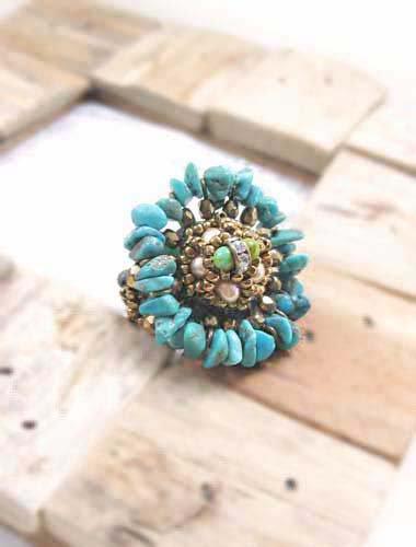 ターコイズ リング 天然 ターコイズ ブルー ビーズ サザレ石(チップ) 指輪(リング) ボリュームリング 大ぶり