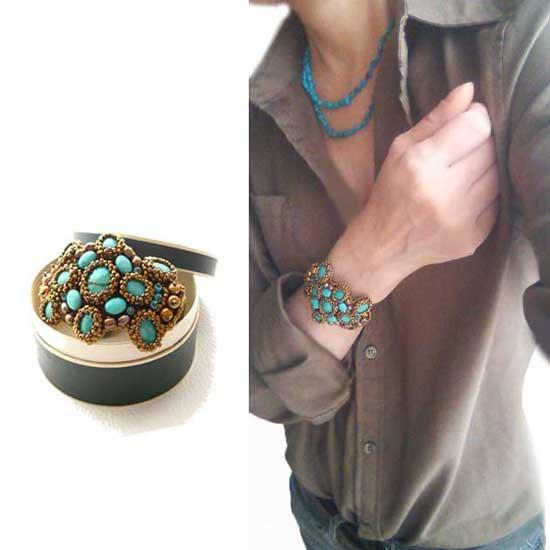 ビーズ刺繍 ターコイズ バングル ブレス、トルコ石 ゴールド ビーズ - フェスタ