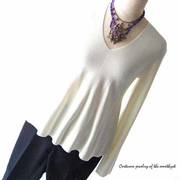 コスチュームジュエリー ネックレス ボリューム 紫 アメジスト天然石 ビーズ ネックレス