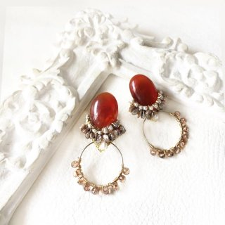 赤メノウ(レッドアゲート) フープピアス・イヤリング 大粒 赤 ビジューピアス・イヤリング 天然石  ピアス・イヤリング