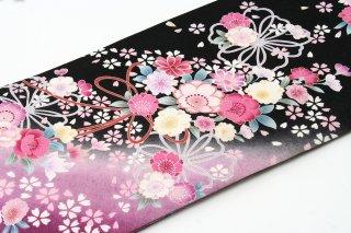 レンタル 振袖 黒ラメ ピンクの花