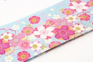 レンタル 振袖 水色 カサブランカ・ピンクの花