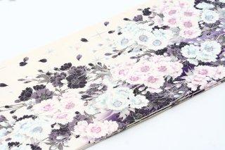 レンタル 振袖 白 紫・水色の花