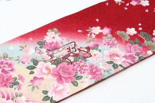 レンタル 振袖 赤 ピンクの花 御所車