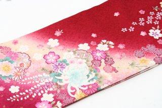 レンタル 振袖 赤 水色・ピンクの大きい花