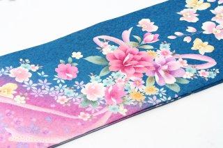 レンタル 振袖 水色 ピンク・紫の花