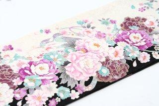 レンタル 振袖 白・黒 ピンク・紫の大きい花