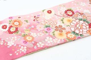 レンタル 振袖 サーモンピンク・クリーム 花と鞠