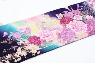 レンタル 振袖 紫 ボタン・百合の刺繍