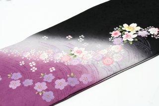 レンタル 振袖 黒 裾紫 小花柄