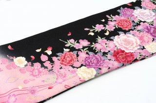 レンタル 振袖 黒・ピンク 赤・白の大きい花