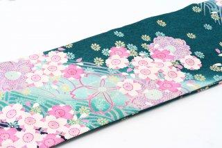 レンタル 振袖 緑 白・ピンク桜