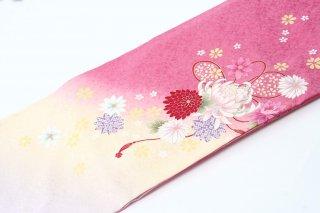 レンタル 振袖 ピンク・裾白 白い大きい花・赤いリボン