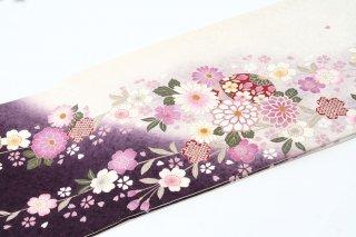 レンタル 振袖 白・裾紫 しだれ桜
