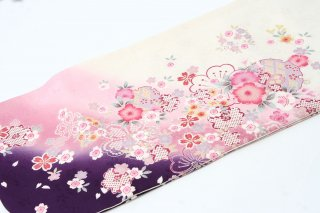 レンタル 振袖 白・裾紫とピンク 桜