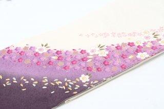 レンタル 振袖 白・裾赤紫 小花