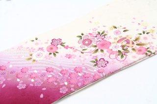 レンタル 振袖 白・裾赤紫 桜と鞠
