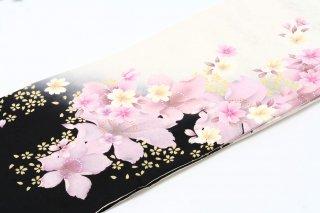 レンタル 振袖 白・裾黒 うす紫の花