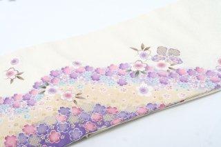 レンタル 振袖 白 裾黄・紫 小花
