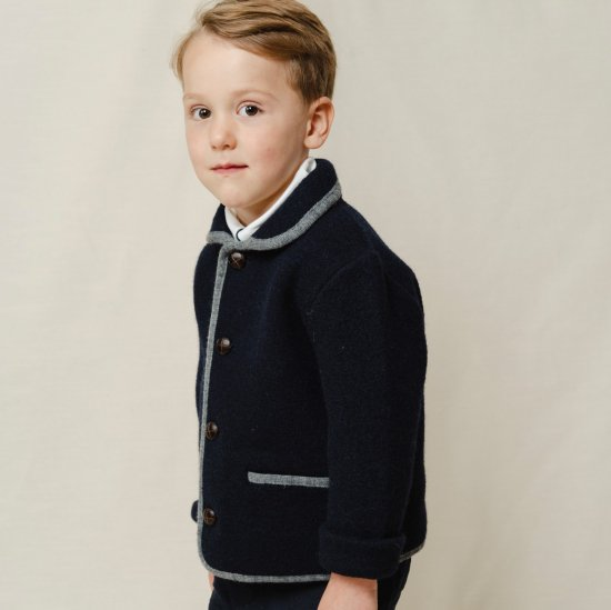 <img class='new_mark_img1' src='https://img.shop-pro.jp/img/new/icons14.gif' style='border:none;display:inline;margin:0px;padding:0px;width:auto;' />Amaia Kids - Redwink Jacket - Navy アマイアキッズ - ウールジャケット