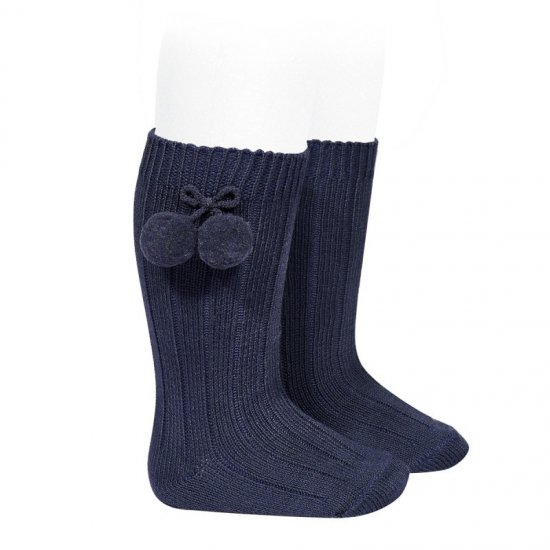 Amaia Kids - Ribbed Pompon Knee High Socks - Navy アマイアキッズ - ソックス