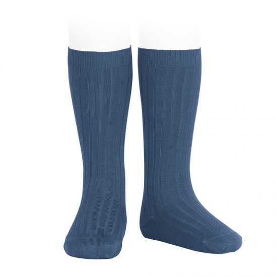 Amaia Kids - Ribbed knee high socks - Cobalt アマイアキッズ - ソックス