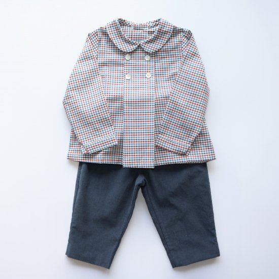 Amaia Kids - Thomas shirt - Red Blue check アマイアキッズ - 長袖シャツ