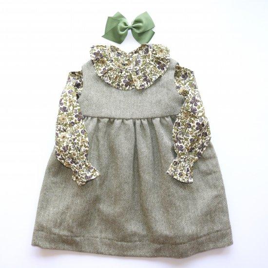 Amaia Kids - Pichi dress - Khaki アマイアキッズ - ジャンパースカート