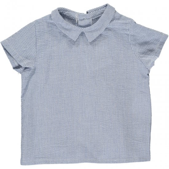 Amaia Kids - Mallard shirt - Blue small stripe アマイアキッズ - シャツ