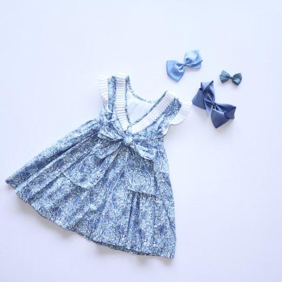 Amaia Kids - Ganivet dress - Blue アマイアキッズ - 花柄ワンピース