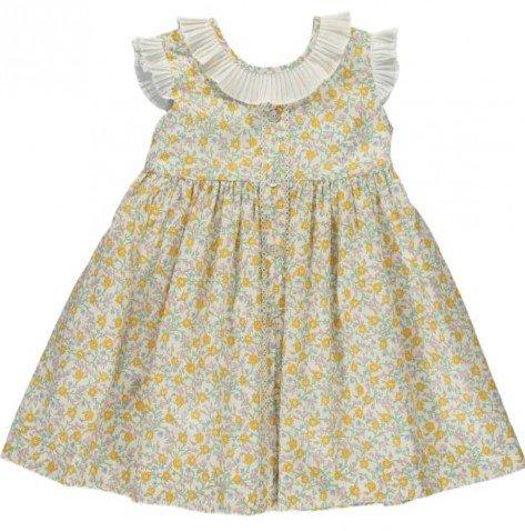 Amaia Kids - Ganivet dress - Liberty yellow アマイアキッズ - リバティプリントワンピース