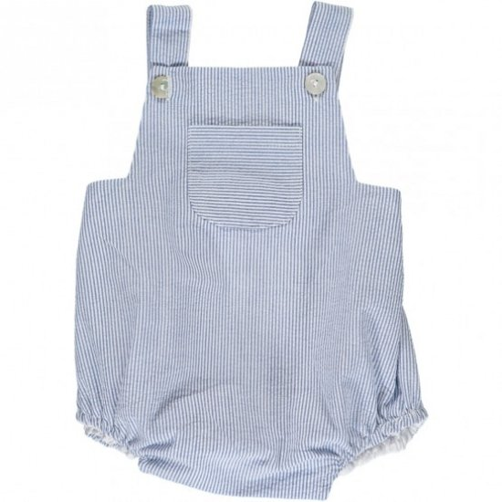 Amaia Kids - Archie romper - Blue small stripe アマイアキッズ - サロペット