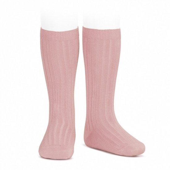 Amaia Kids - Ribbed knee high socks - Light Pink アマイアキッズ - ソックス