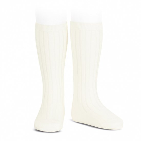 Amaia Kids - Ribbed knee high socks - Ivory アマイアキッズ - ソックス