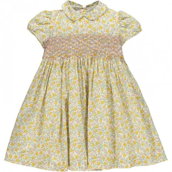 <img class='new_mark_img1' src='https://img.shop-pro.jp/img/new/icons20.gif' style='border:none;display:inline;margin:0px;padding:0px;width:auto;' />【30%OFF】Amaia Kids - Shirley dress - Liberty yellow アマイアキッズ - リバティプリントワンピース