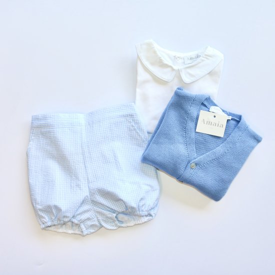 Amaia Kids - Magpie bloomer - Blue gingham check アマイアキッズ - パンツ