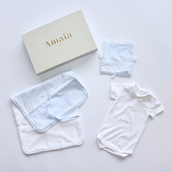 Amaia Kids - ベビーギフトセット Blue (ボディースーツ・ラトル・おむつ替えマット)