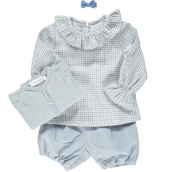 <img class='new_mark_img1' src='https://img.shop-pro.jp/img/new/icons20.gif' style='border:none;display:inline;margin:0px;padding:0px;width:auto;' />【40%OFF】Amaia Kids - Amelia blouse - Blue/Grey checked アマイアキッズ - チェック柄ブラウス