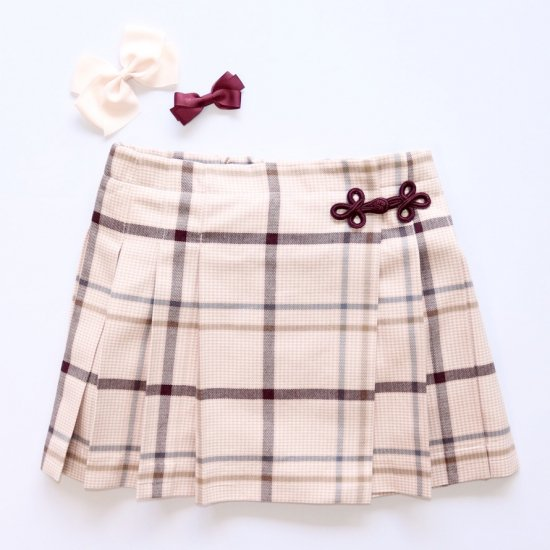 Amaia Kids - Kiera skirt - Pink/Brown checked アマイアキッズ - チェック柄スカート