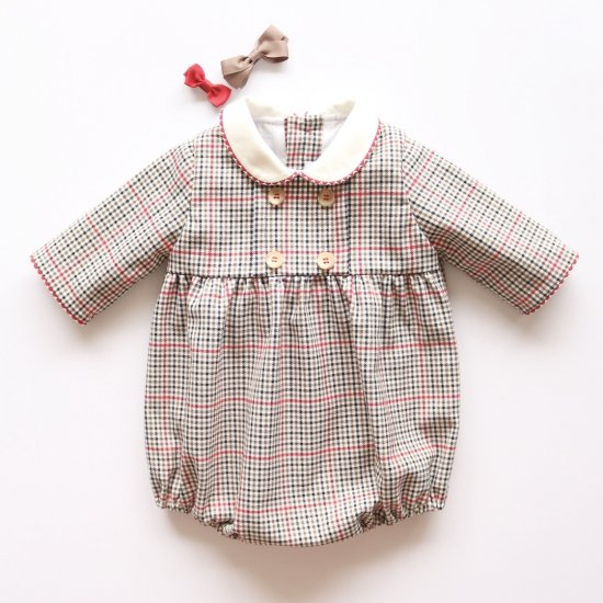 <img class='new_mark_img1' src='https://img.shop-pro.jp/img/new/icons14.gif' style='border:none;display:inline;margin:0px;padding:0px;width:auto;' />Amaia Kids - Felicidad romper - Checked アマイアキッズ - チェック柄ロンパース