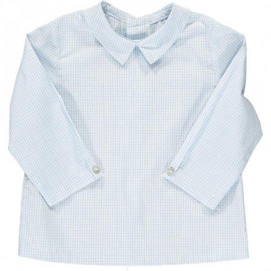 <img class='new_mark_img1' src='https://img.shop-pro.jp/img/new/icons14.gif' style='border:none;display:inline;margin:0px;padding:0px;width:auto;' />Amaia Kids - Mallard shirt - Sky blue mini checked アマイアキッズ - チェック柄シャツ