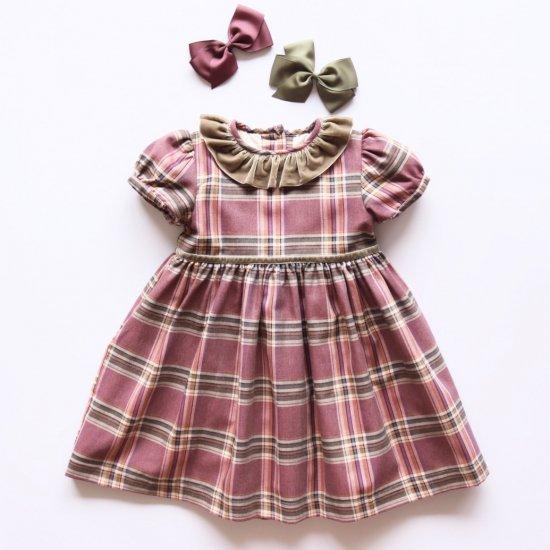 Amaia Kids - Raisin dress - Plum tartan アマイアキッズ - チェック柄ワンピース