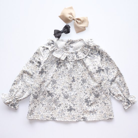 Amaia Kids - Amelia blouse - Grey/Beige floral アマイアキッズ - 花柄ブラウス